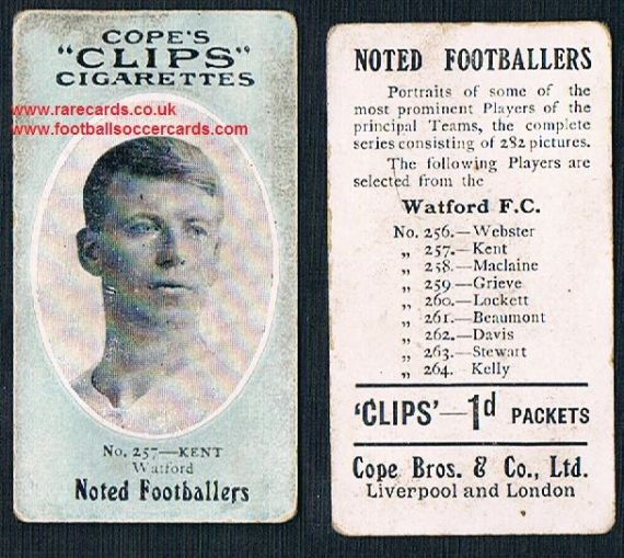 1909 Cope's Clips 3rd series Noted Footballers, 500 back, 257 Watford Kent